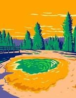 Morning Glory Pool in Yellowstone National Park USA WPA vector