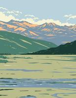Tower Roosevelt and Lamar Valley In Yellowstone National Park WPA Art vector