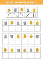 Decode and encode pictures. Write the symbols under kitchen utensils. vector