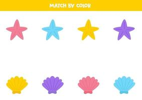 Color matching game for preschool kids. Match sea stars and shells. vector