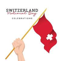Switzerland flag. Independence day celebrations. Banner template. vector
