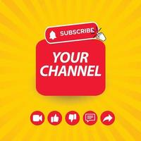 Subscribe like and share template. vector