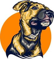 dog illustration with solid color vector