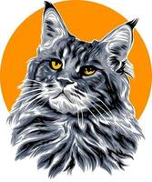 cat illustration with solid color vector