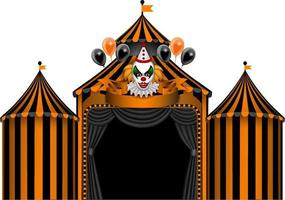 halloween circus with black and orange stripes and evil clown vector
