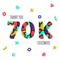 Thank you 70000 followers numbers postcard. vector