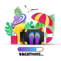 Summer holiday tropical vacation travel gradient flat style design vector