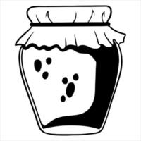 Jam in a glass jar with a decorated lid. Homemade jam. Line style. vector