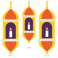 vector illustration of three Islamic lanterns
