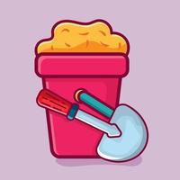 sand bucket isolated cartoon illustration vector