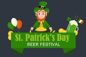 St.Patricks Day flyer, brochure, beer festival invitation. Vector