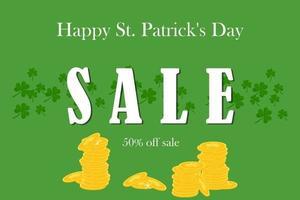 Sale special offer banner for St. Patrick's Day. Vector illustration.
