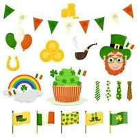 Vector elements of St. Patrick's Day, cartoon style.