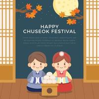 Couple Wearing Traditional Chuseokbim Clothes Celebrating Mid Autumn vector