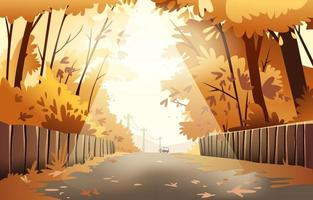 A Sunny Afternoon Street in a Long Autumn vector