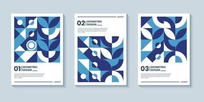 Modern abstract geometric poster covers with classic blue color vector