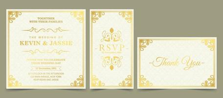 luxury invitation card with frame ornament style vector