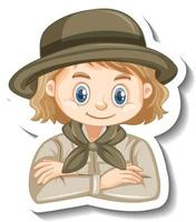 Girl in safari outfit cartoon character sticker vector