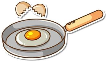 Sticker fried egg in a pan on white background vector