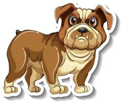 Sticker design with a pug dog isolated vector