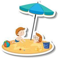 Kids playing at the beach cartoon sticker vector