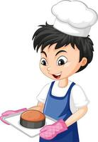 Cartoon character of a chef boy holding tray of cake vector