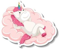 Cute unicorn laying on the cloud on white background vector
