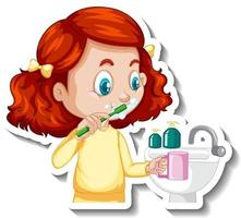 Cartoon character sticker with a girl brushing teeth vector