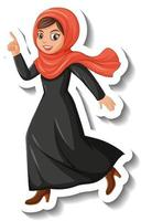 Muslim woman cartoon character sticker on white background vector