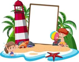 Blank banner template on the island with lighthouse isolated vector