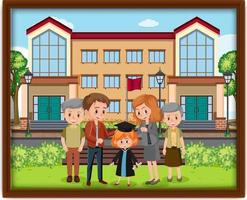 Happy family photo in a frame vector