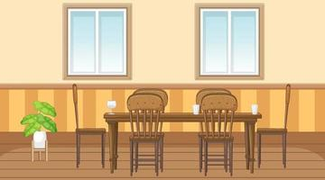 Dining room interior design with furniture vector