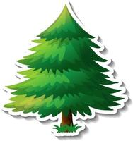 A tree with green leaves sticker on white background vector