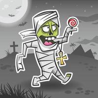 Mummy cartoon character. Halloween sticker. Halloween monster. vector