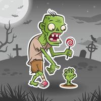 Zombie cartoon character. Halloween sticker. Halloween monster vector