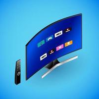 Realistic smart TV in isometry. Vector isometric illustration