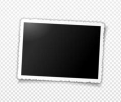 Retro photo frame with figured wavy edges and shadow. Template vector