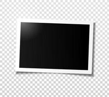 Wide horizontal photo frame with shadow. Template for editing. vector