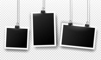 marcos de fotos que cuelgan de clips de carpeta con sombras. plantillas vectoriales vector
