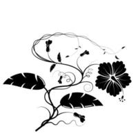 floral silhouette for engraving and cut designs vector