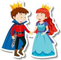 Prince and princess cartoon character sticker vector