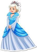 Beautiful queen cartoon character sticker vector