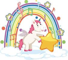 Unicorn standing on cloud with rainbow and melody symbol vector