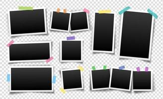 Photo frames fixed with sticky tape of different colors vector