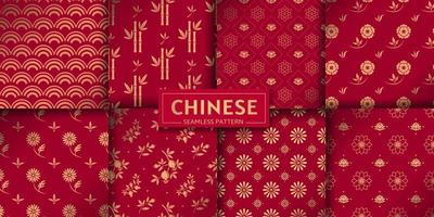 Chinese seamless pattern. Vector set. Floral, marine textures.