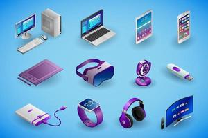 Realistic electronic devices and gadgets in isometry vector