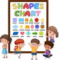 Shapes chart board with many kids vector