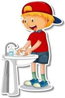 A sticker template with a boy washing hands with soap vector