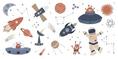 Set of hand drawn cartoon vector illustrations of space.