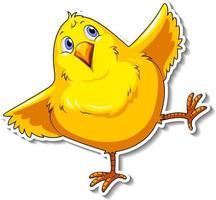 Cute little bird cartoon animal sticker vector